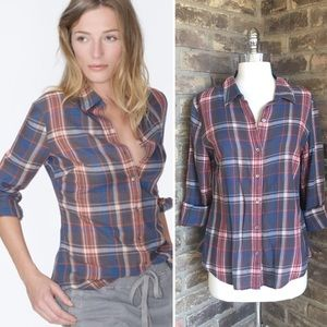 James Perse light flannel plaid shirt sz 2